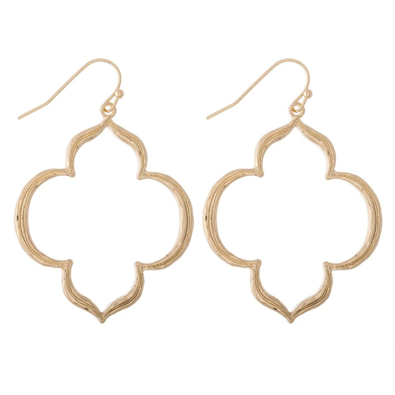 Quatrefoil Gold Dangle Earrings