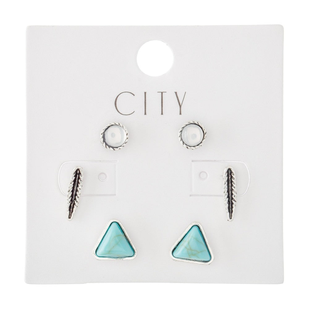 Silver and Turquoise Stud Earring Set