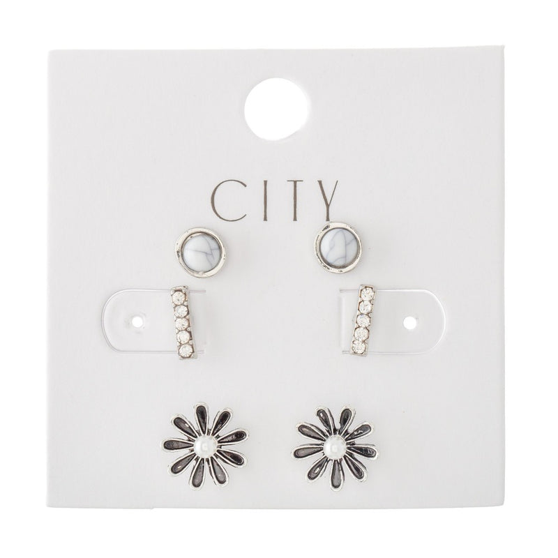 Silver and White Stud Earring Set