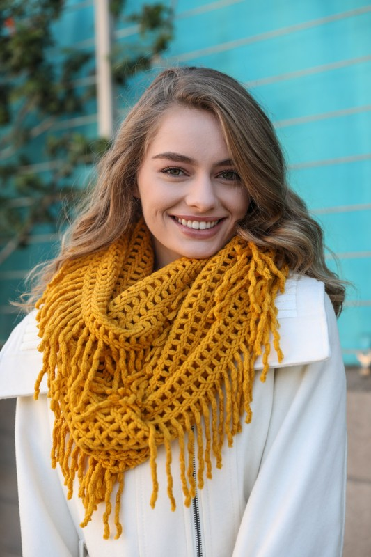 Lattice Knit Tassel Infinity Scarf