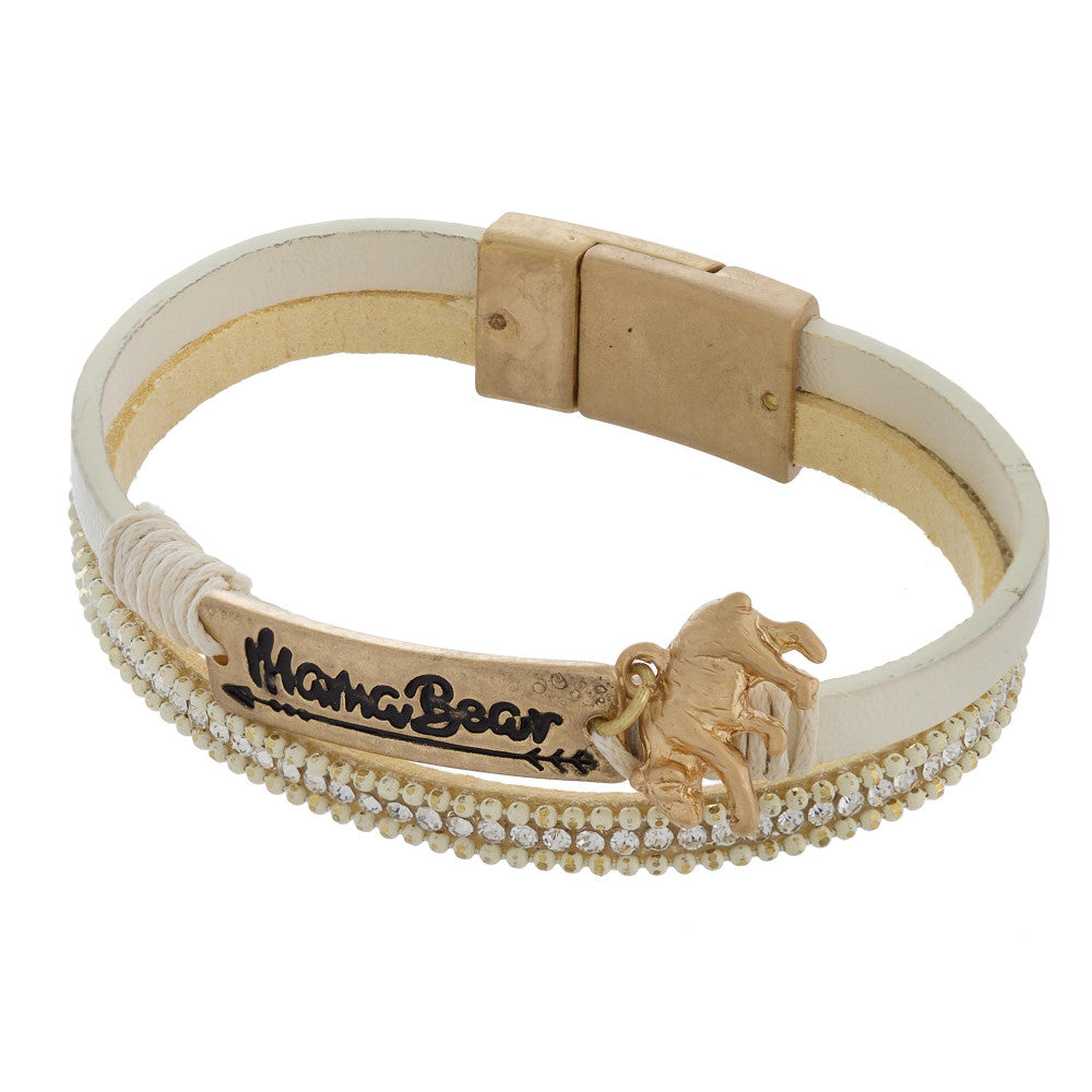 Mama Bear Bracelet Gold and Cream