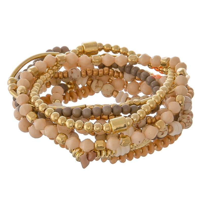 Stone and Gold Multi Strand - Bracelet