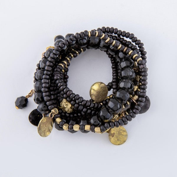 Black Wooden and Gold Stretch Bracelet Set