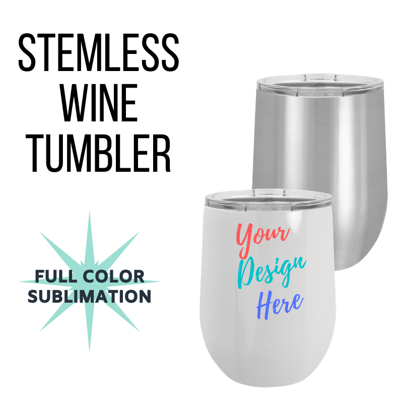 Custom Stemless Wine Tumbler w/ Lid