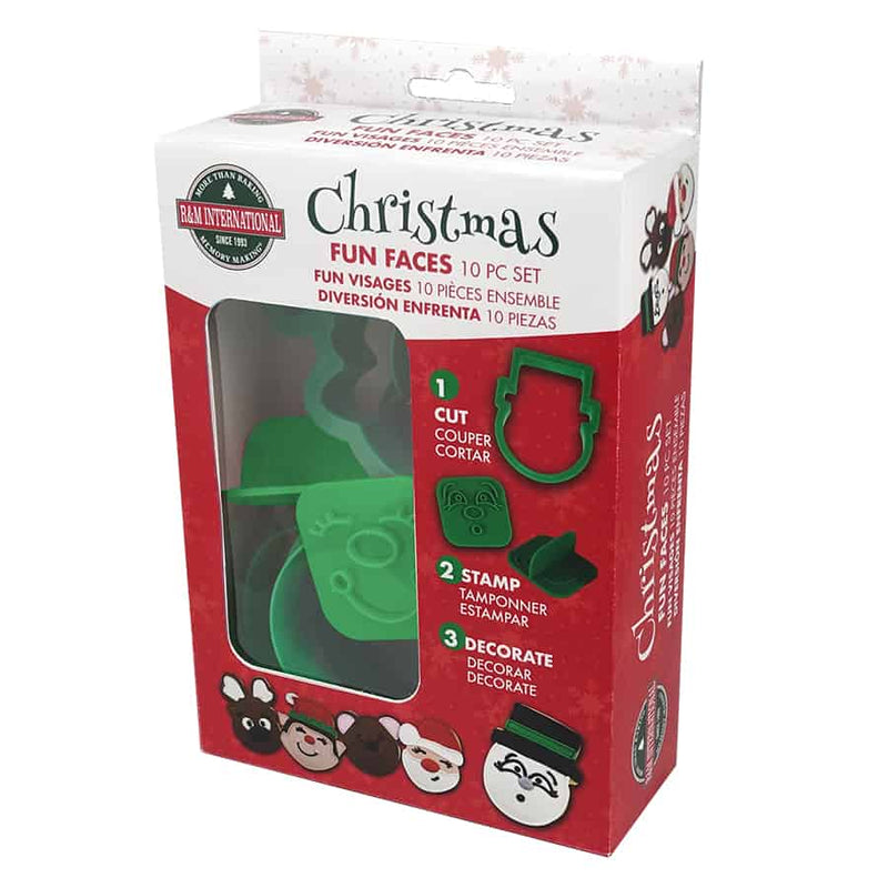 CHRISTMAS FUN FACES COOKIE CUTTERS (10 PC SET)