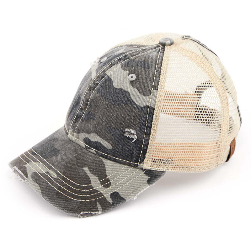 Distressed CC Pony Tail Ballcaps