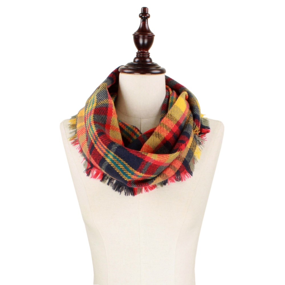 Gray/Red/Mustard Infinity Scarf