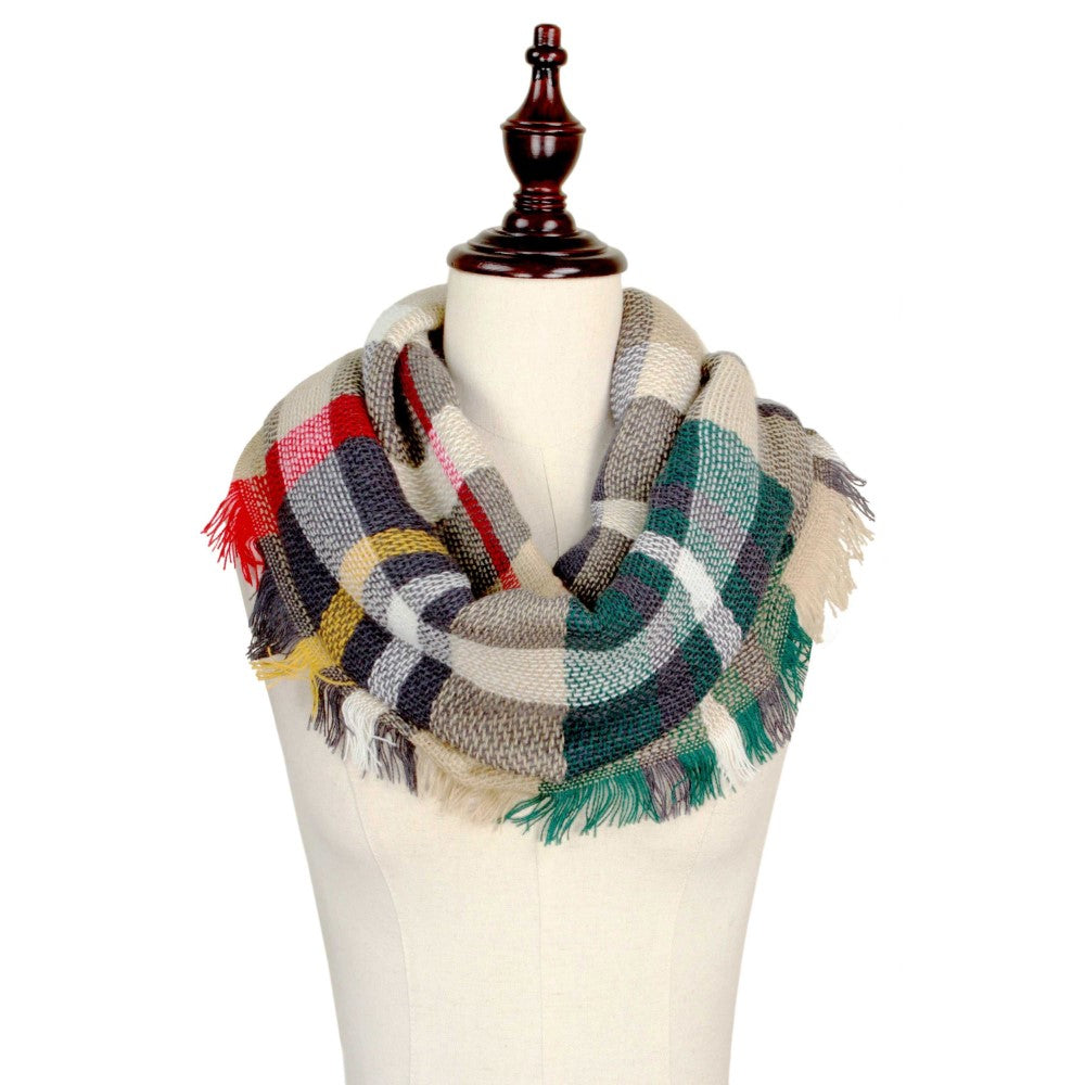 Beige/Navy/Red Infinity Scarf
