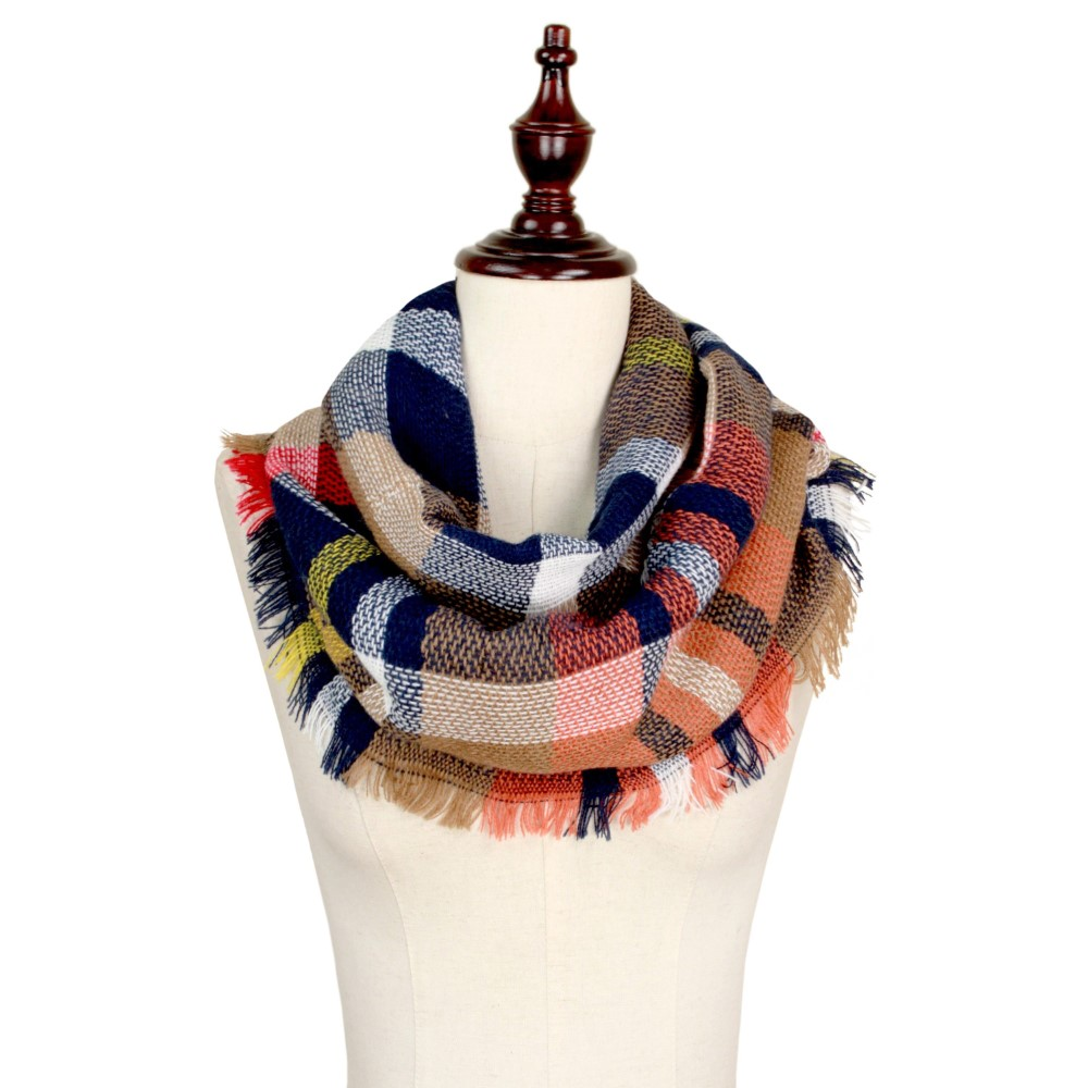 Beige/Navy/Orange Infinity Scarf