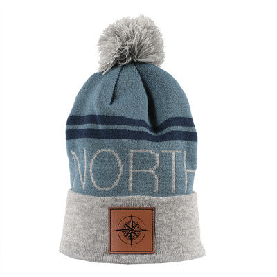 North Beanie - Gray and Slate Blue