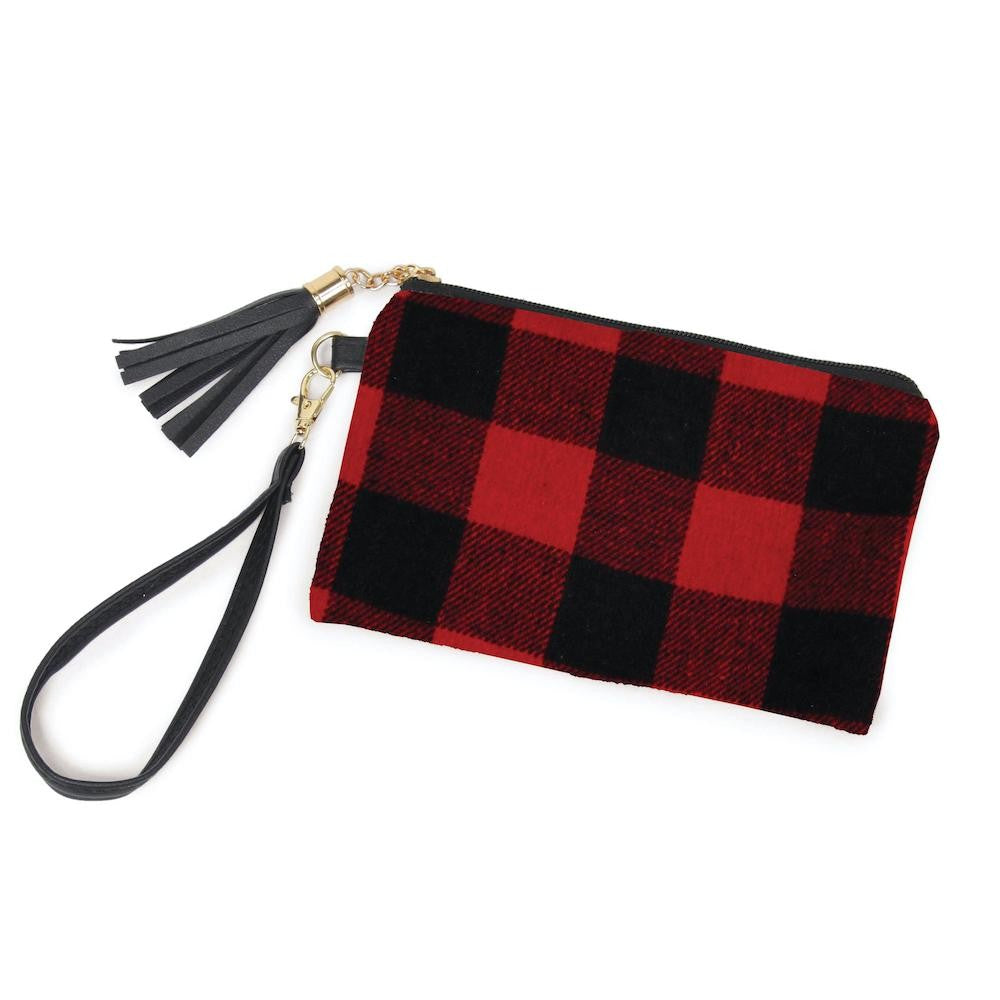 Buffalo Plaid Tassel Wristlet