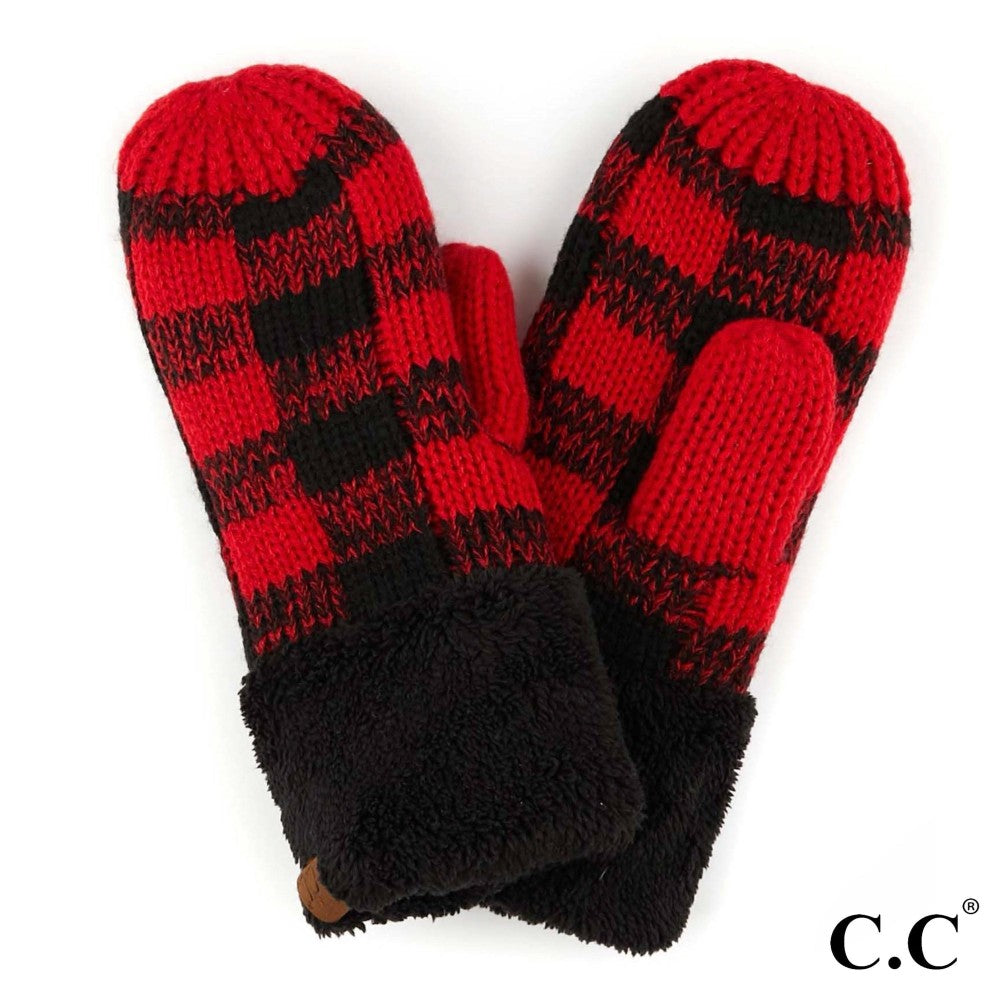 Black and Red Plaid CC Mittens