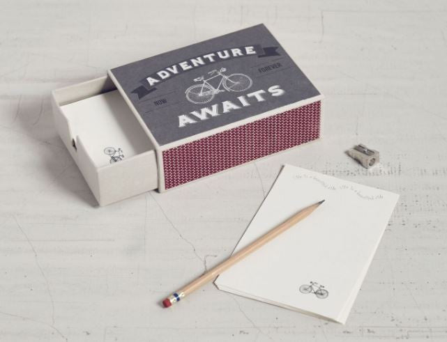 matchbox stationery bicycle adventure awaits