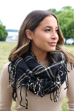 Black and Cream Fringed Infinity Scarf