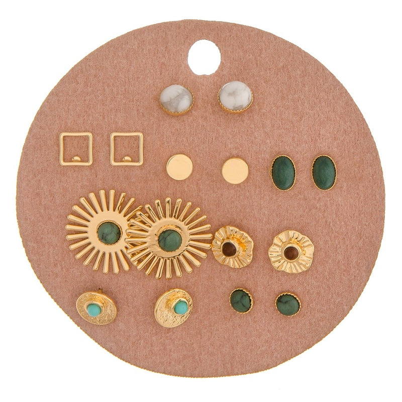 Boho Gold Stud Earring Collection