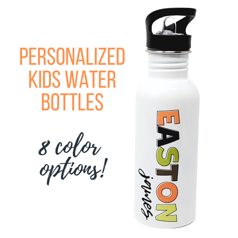 Block Font Personalized Kiddo Water Bottle