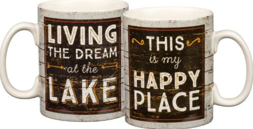 dream lake happy place coffee mug