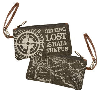 getting lost is half the fun green canvas wristlet bag