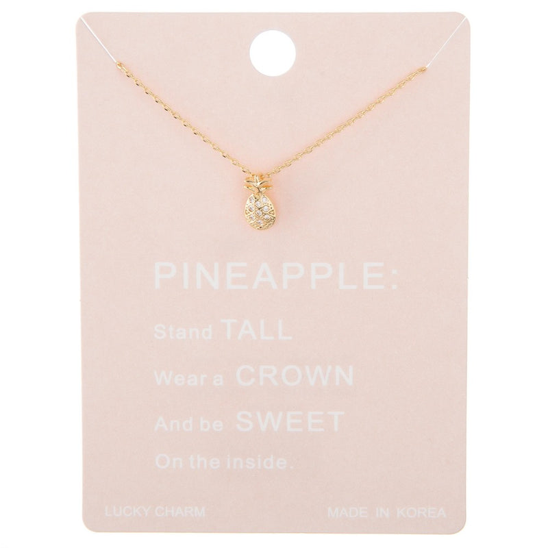 Pineapple Gold Rhinestone Necklace
