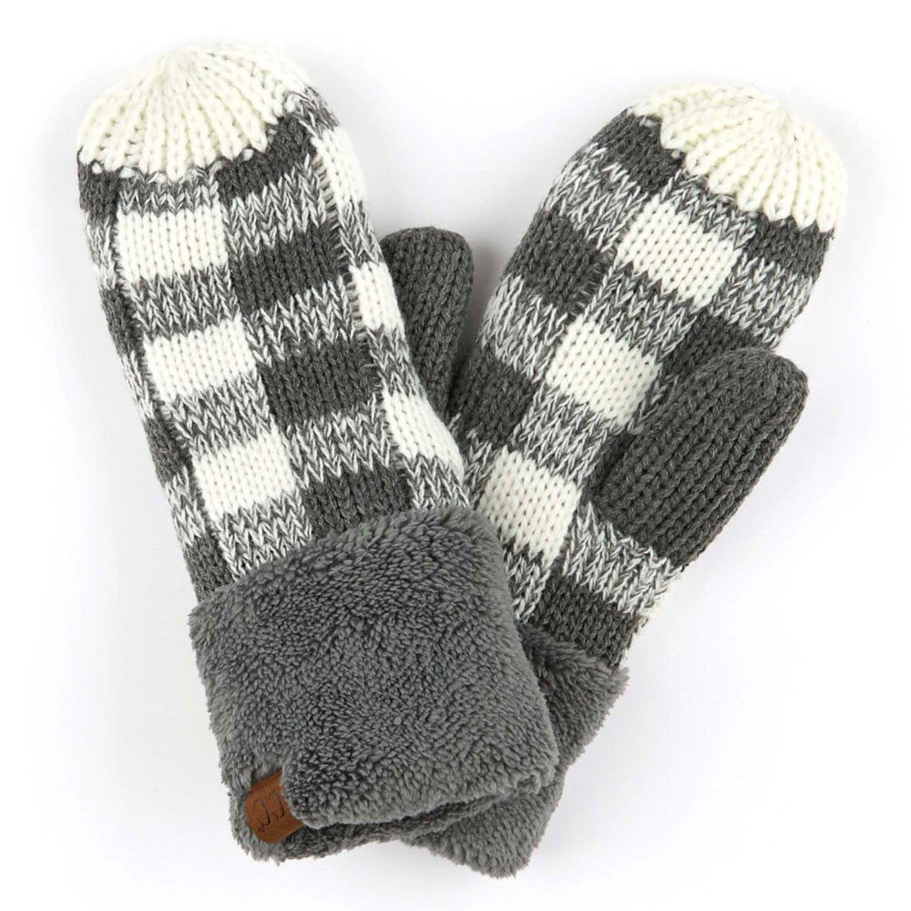 Grey and White Plaid CC Mittens