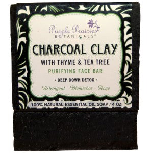 Charcoal Clay - Thyme & Tea Tree - Purifying Face Bar Soap