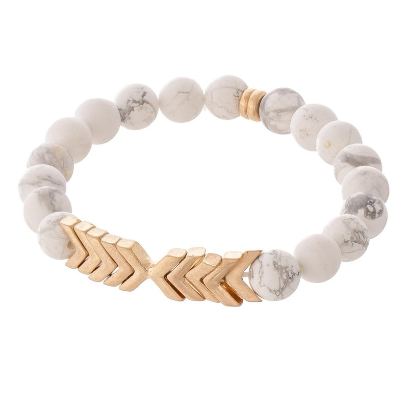 White Marble Matte Stone Gold Arrow Bracelet