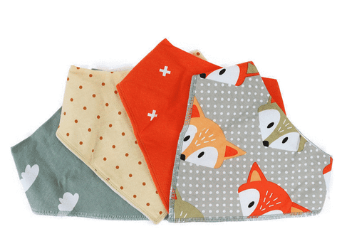 Orange Fox Triangle Bandana Bibs