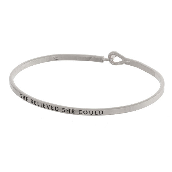 """She Believed She Could"" Cuff Bracelet"