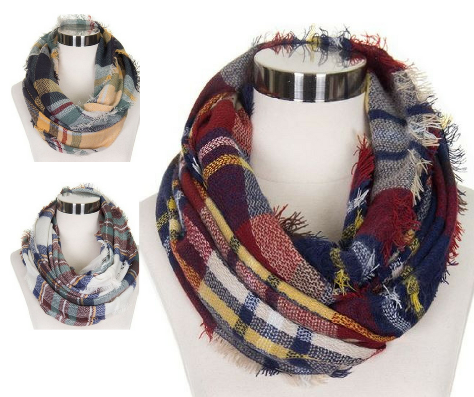 Checker Plaid Infinity Scarves