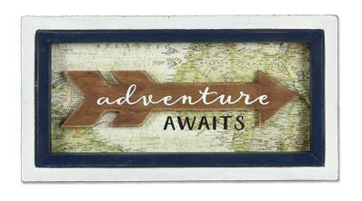 adventure awaits map sign