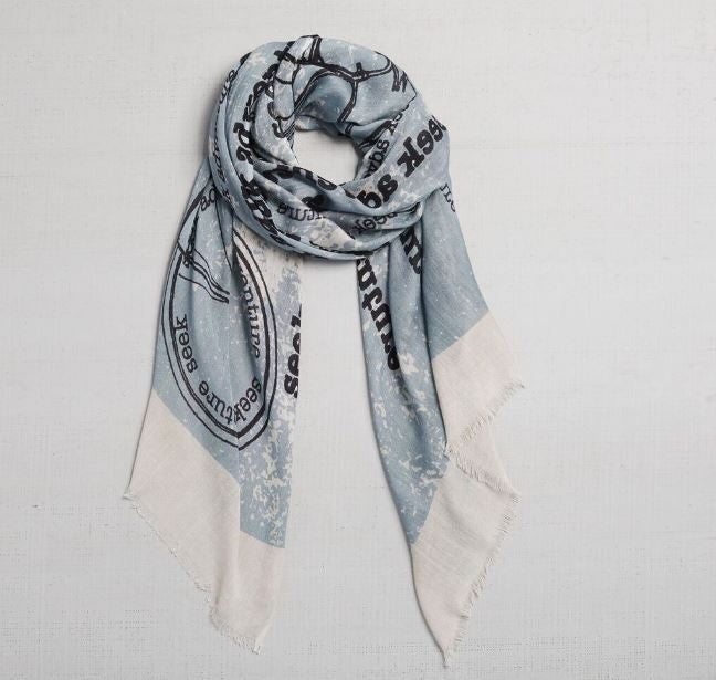 passport stamps adventure scarf