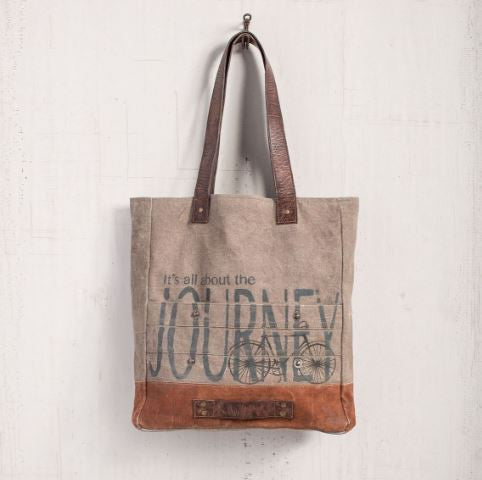 canvas tote purse journey bicycle