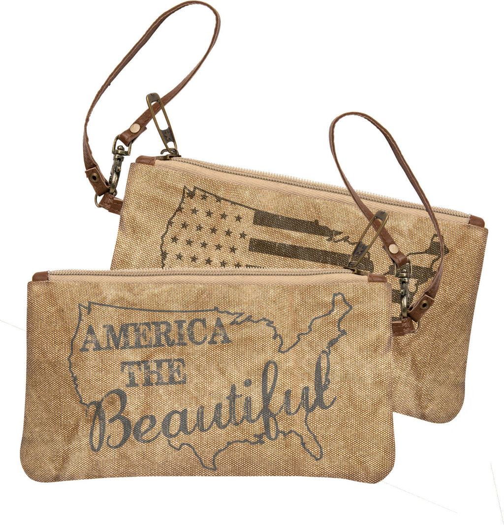 america the beautiful wristlet bag