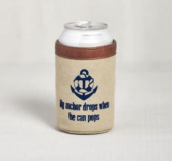 anchor can koozie holder canvas