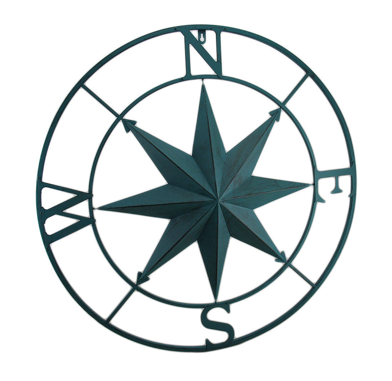 Distressed Metal Compass - Red, Green, Aqua Color Options