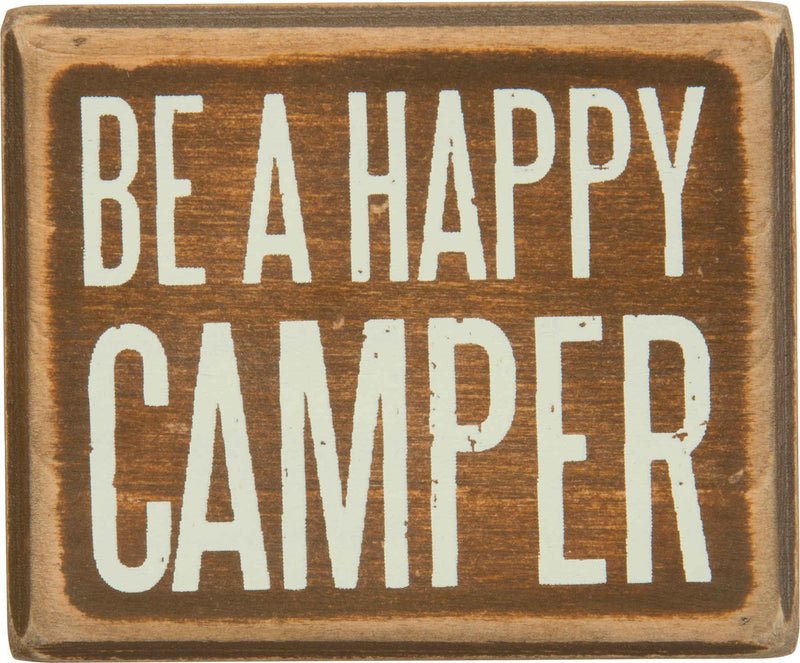 be a happy camper brown wood sign