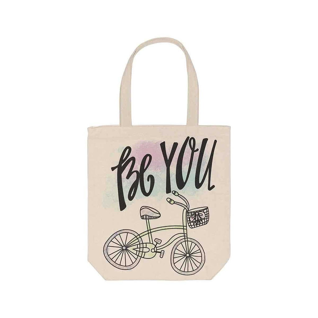 be you watercolor canvas tote bag with a hand drawn bicycle