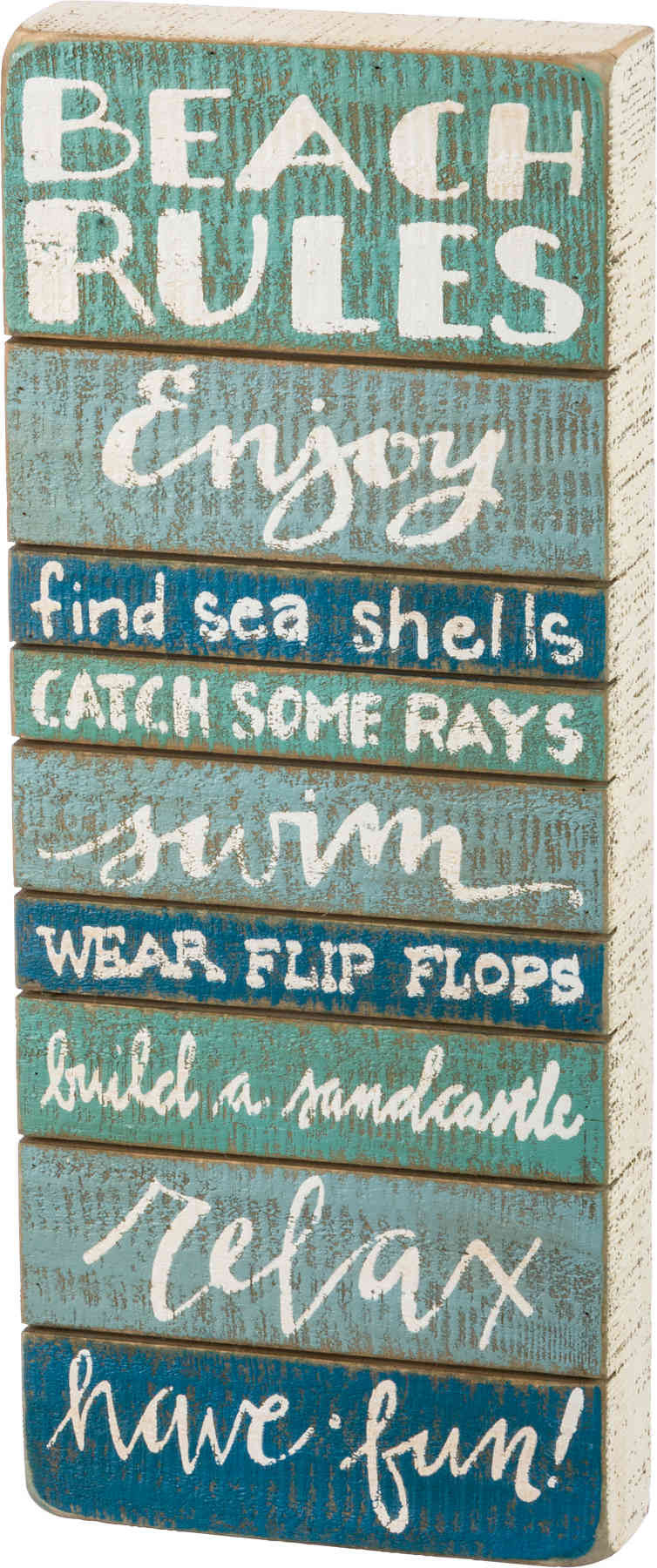 beach rules painted wooden sign