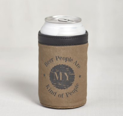 beer are my kind of people can koozie holder canvas