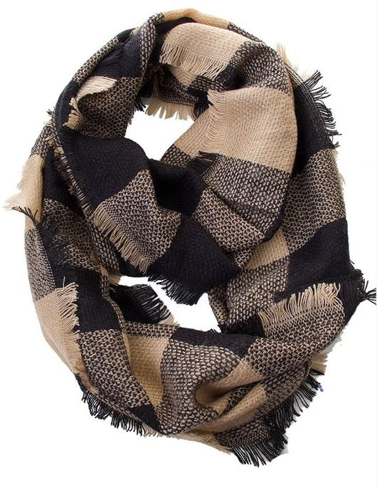 Beige/Black Check Infinity Scarf