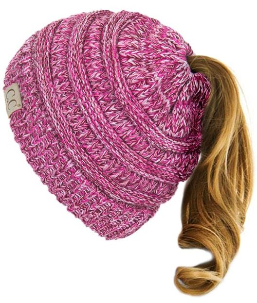Multiple Colors: Kids CC Messy Bun Beanie