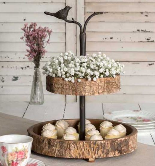 Bird and Birch Two Tiered Tray