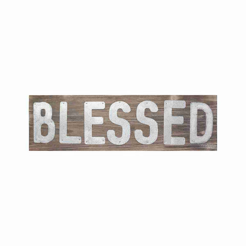 blessed in tin letters on barn wood sign