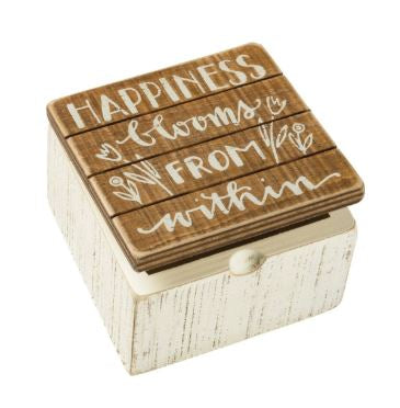 Happiness Blooms From Within - Wooden Box