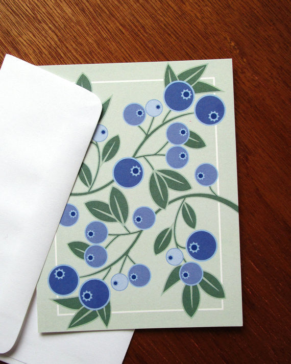 blueberries with envelope