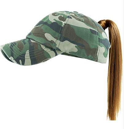 Distressed Camo Pony Tail Ballcap
