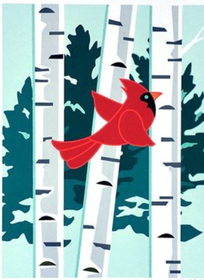 Cardinal in Birch - Note Card