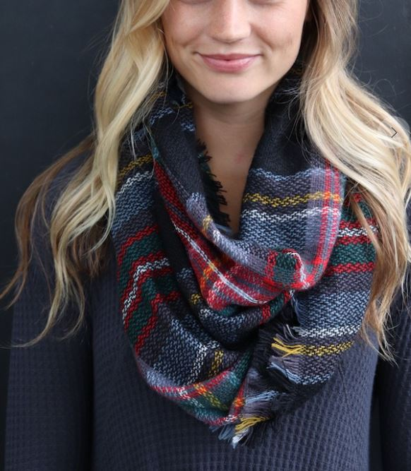 Black/Charcoal Plaid Infinity Scarf