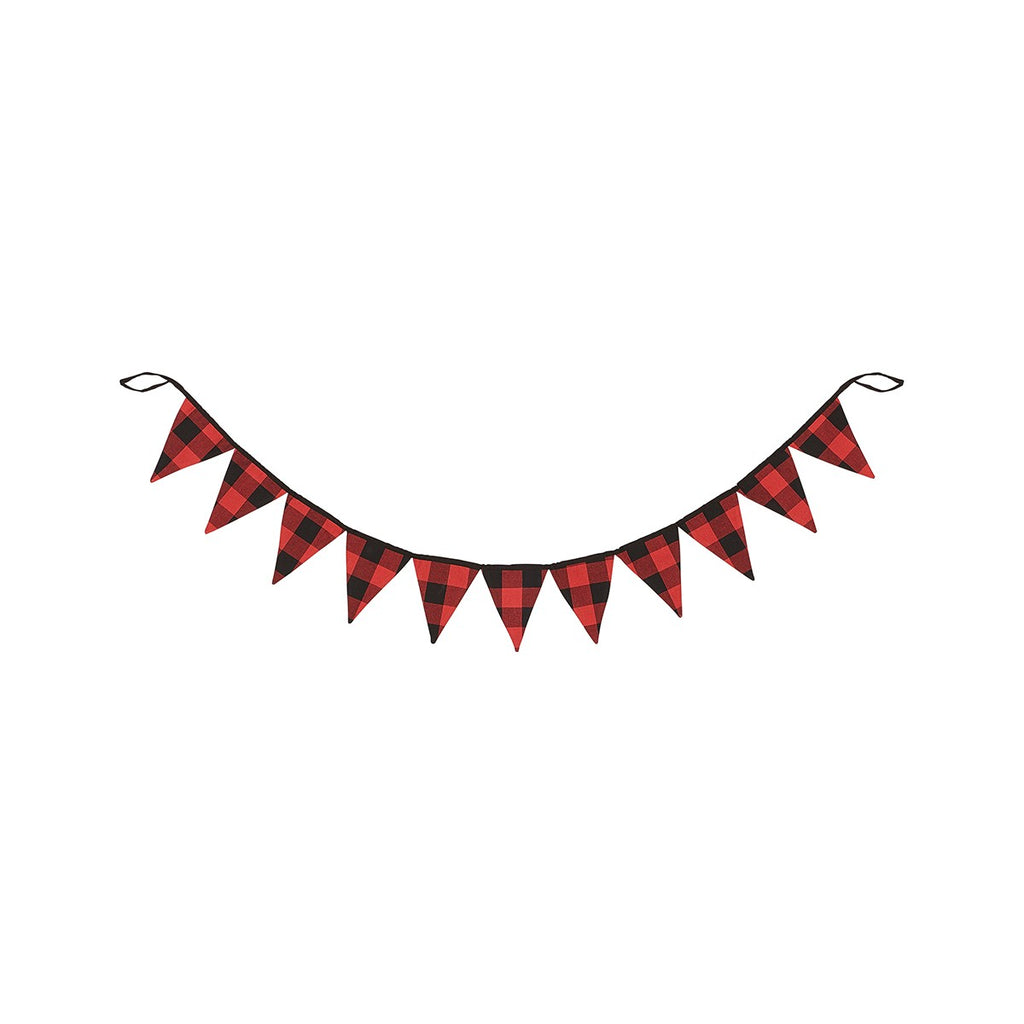 Red Buffalo Plaid Pennant Garland