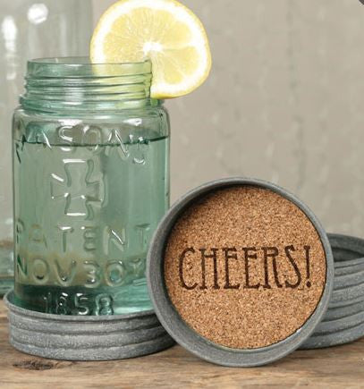 cheers mason jar lid coasters